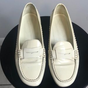 Tod's Cream Patent Leather Loafers